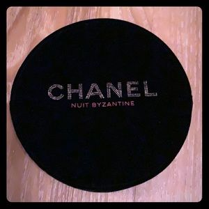NIB Chanel black velvet round makeup bag